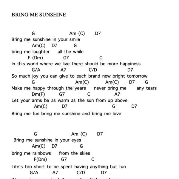 Preview of Music - Bring me sunshine