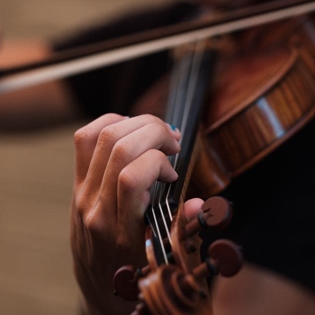 Close up of violin playing