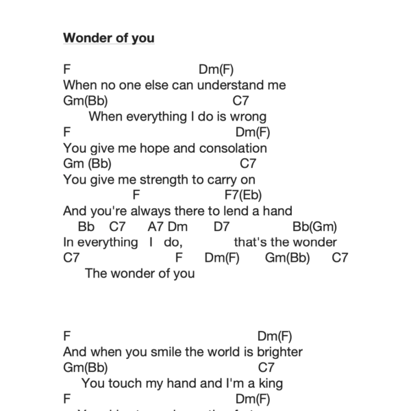 Preview of Music - Wonder of you